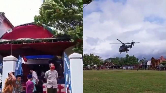 The helicopter suddenly landed when the residents held a celebration.  (Instagram/makassar_iinfo)