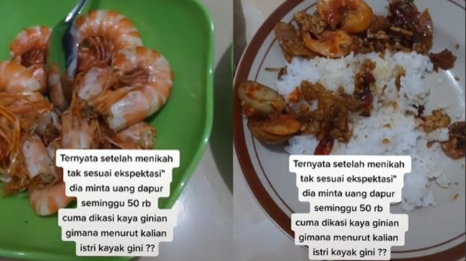Husband protested being given shrimp by wife.  (Tiktok)