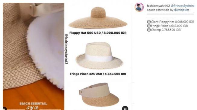 Koleksi topi Syahrini. (Instagram/@fashionsyahrini2)