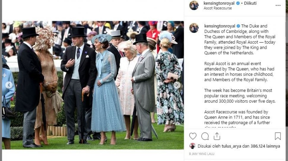 Kate Middleton dalam Royal Ascot 2019. (Instagram/@kensingtonroyal)