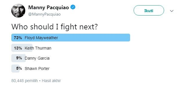 Hasil polling Manny Pacquiao. [Twitter@MannyPacquiao]