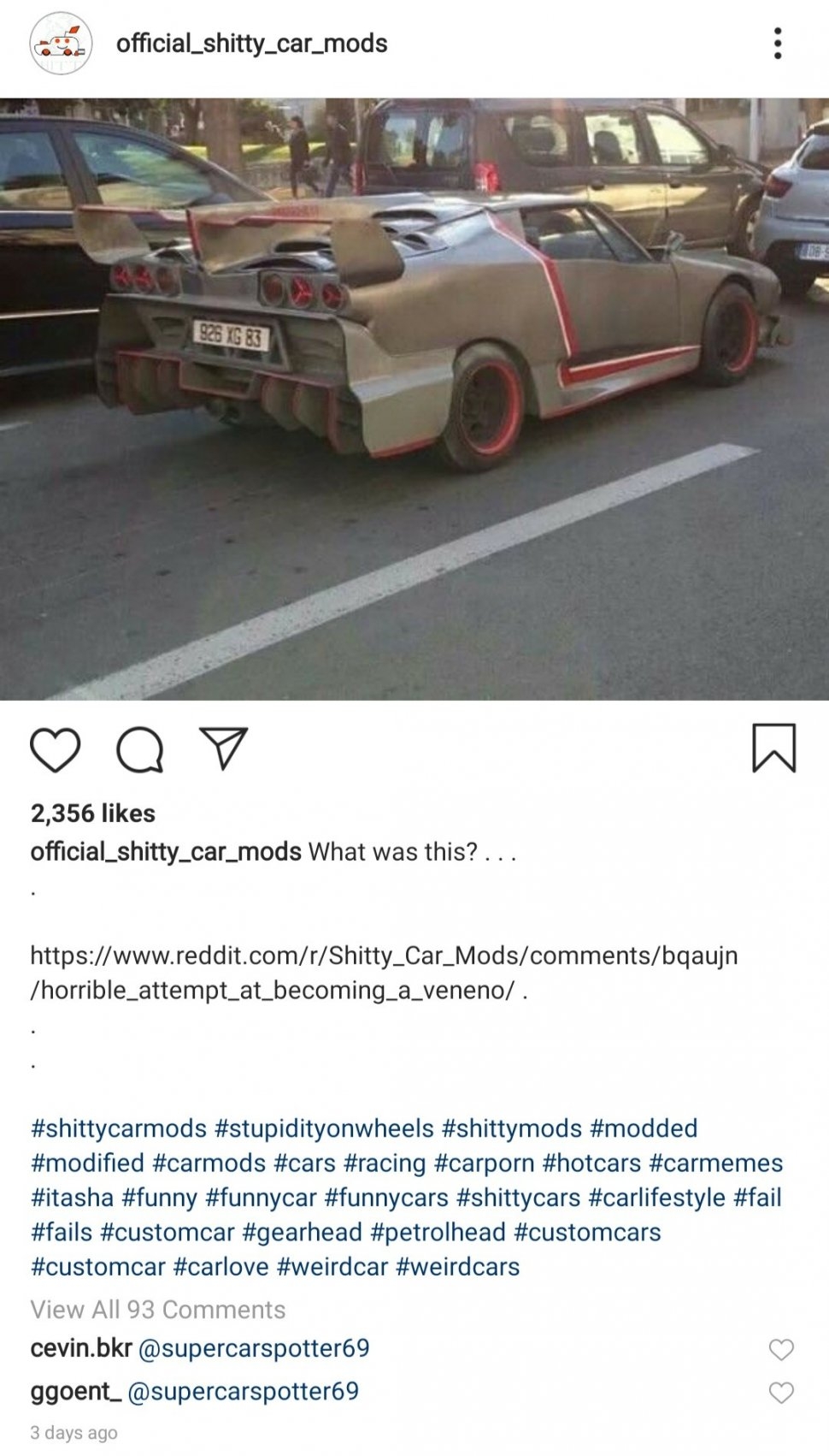 Modifikasi Mobil Supaya Mirip Lamborghini. (Instagram/official_shitty_car_mods)