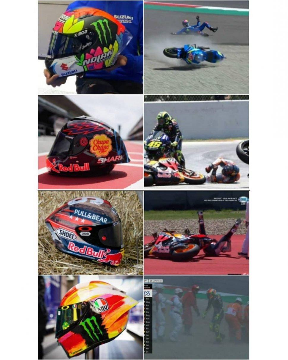 Helm Spesial Pembalap MotoGP. (Instagram/jokesofgp)