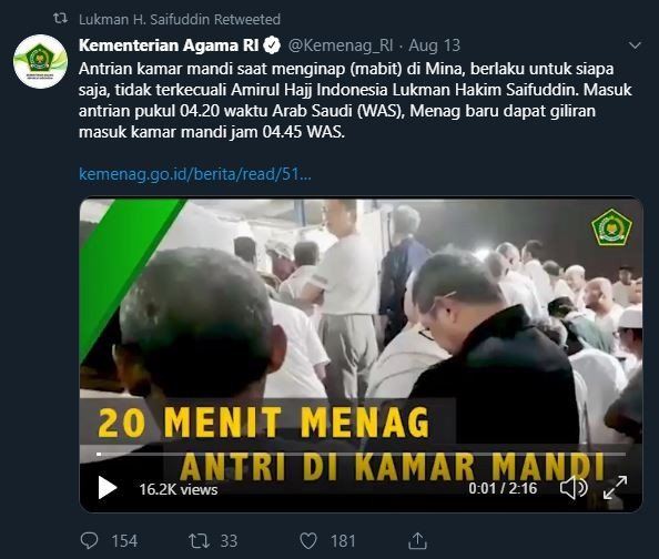 Video Menteri Agama antre WC di Mina. (Twitter)