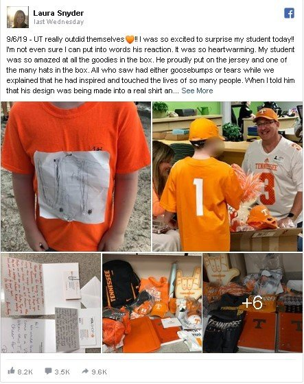 Bocah SD memakai kaos yang ditempel gambar logo University of Tennessee. (The Independent)