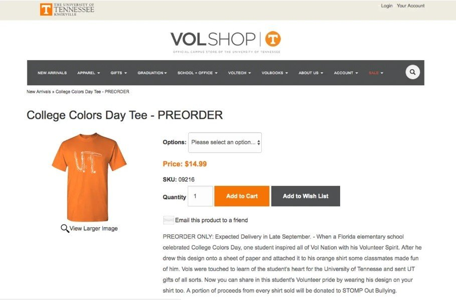 Kaos University of Tennessee yang didesain bocah SD. (The Independent)