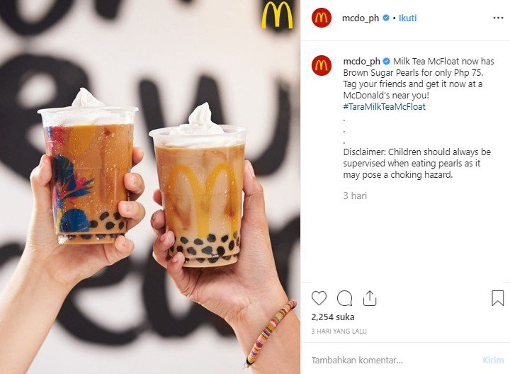 McDonalds Filipina luncurkan menu baru Milk Tea McFloat dengan boba. (Instagram/@mcdo_ph)