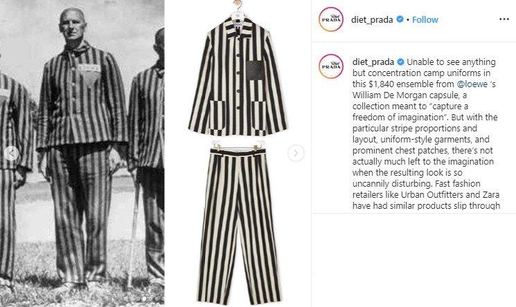 Mirip Seragam Tahanan Nazi, Baju Rp 28 Juta Ini Tuai Kontroversi. (Instagram/@diet_prada)