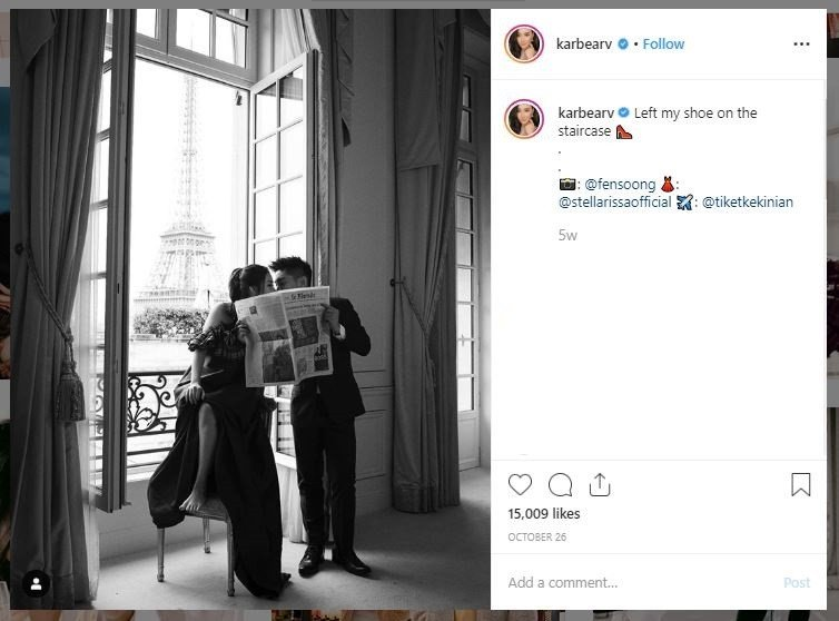 Potret Romantis Boy William dan Karen Vendela di Paris (instagram.com/karbearv)