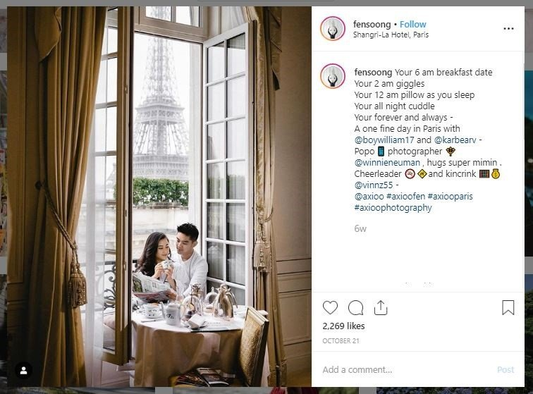 Potret Romantis Boy William dan Karen Vendela di Paris (instagram.com/fensoong)