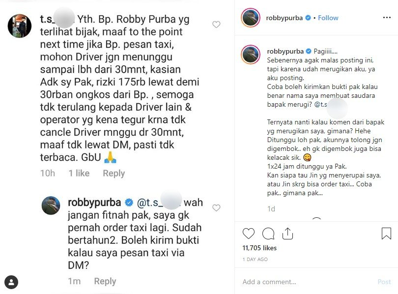 Unggahan screen capture Robby Purba. (Instagram)