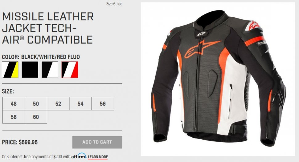 Missile Leather Jacket Tech-Air Compatible. (alpinestars.com)