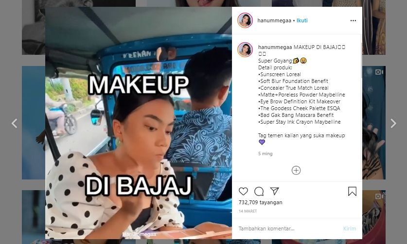 Video tutorial makeup di bajaj. (Instagram/@hanummega)