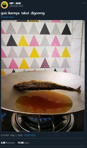 Tak Tersentuh Minyak, Wujud Ikan Goreng di Wajan Ini Bikin Netizen Ngakak. (Twitter/@FOOD_FESS)