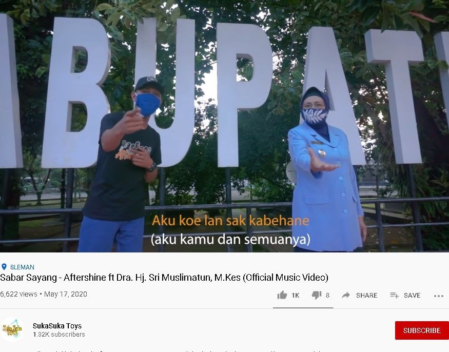 "Lagu ""Sabar Sayang"" Aftershine ft Wabup Sleman Sri Muslimatun - (YouTube/SukaSuka Toys)"
