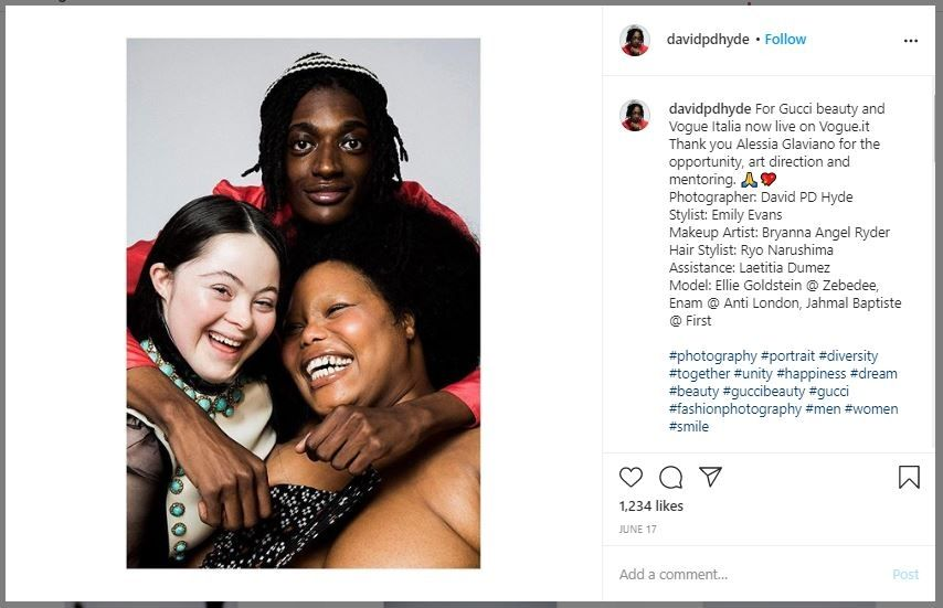 Ellie Goldstein, Model Down Syndrome Gucci (instagram.com/davidpdhyde)