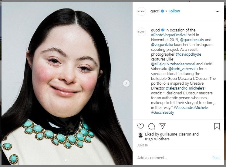 Ellie Goldstein, Model Down Syndrome Gucci (instagram.com/gucci)