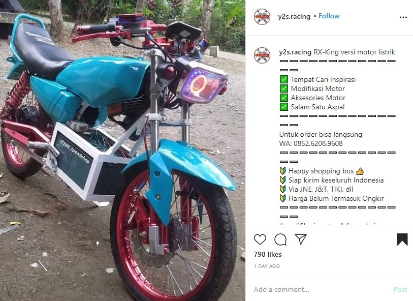 Yamaha RX-King bermesin elektrik. (Instagram/@y2s.racing)
