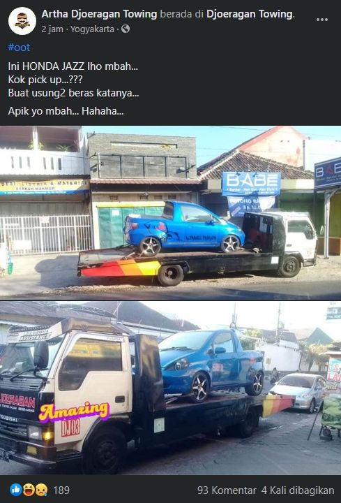 Honda Jazz disulap menjadi pickup. (Facebook/Artha Djoeragan Towing)