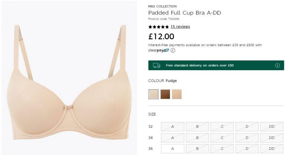 Nama Warna Bra Marks and Spencer (marksandspencer.com)