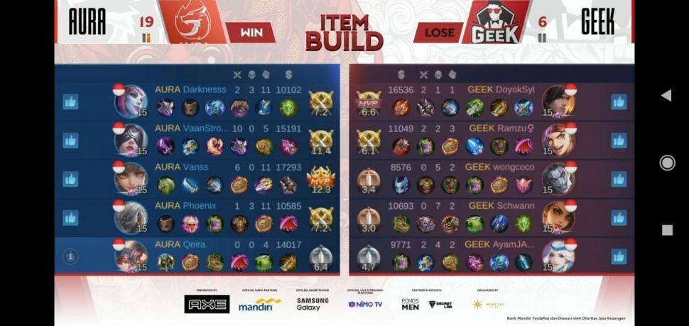 Aura Fire vs Geek Fam Week 4 MPL Season 6. (MPL Indonesia)