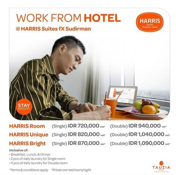 Promo Work From Hotel (Instagram/@harrisfxsudirman)