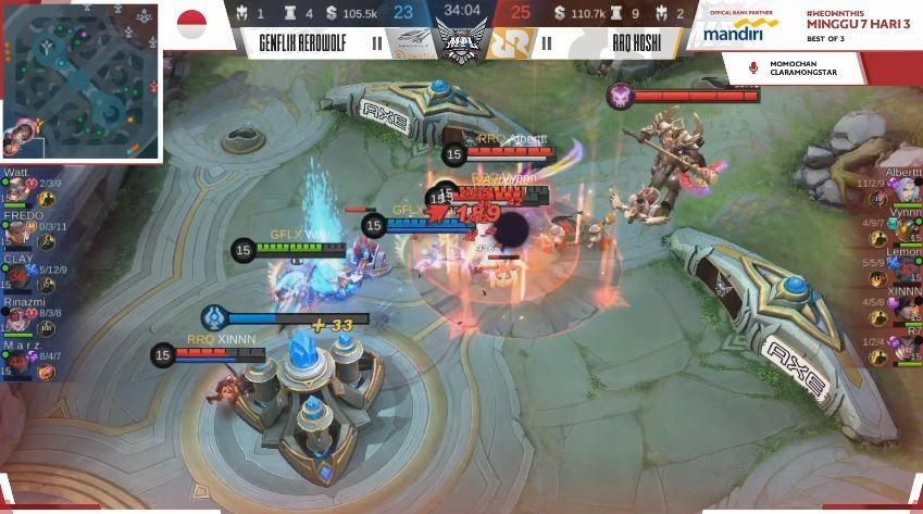 Game pertama Genflix Aerowolf vs RRQ Hoshi dimenangkan Sang Raja dengan skor Kill 23 vs 25. (YouTube/ MPL Indonesia)