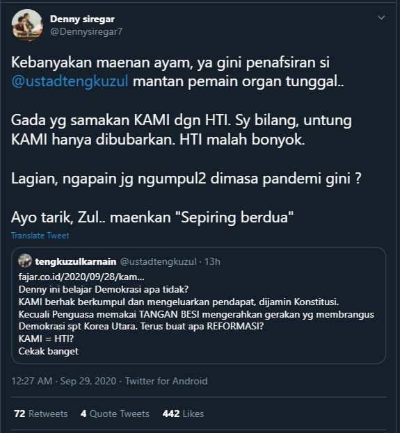 Cuitan Denny Siregar kepada Tengku Zul (Twitter/@Dennysiregar7).