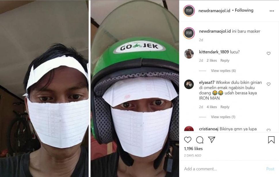 Masker ojol yang antimainstream (Instagram)