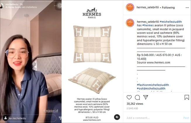 Michelle Ziudith pakai bantal seharga jutaan. (Instagram/@hermes_selebritii)