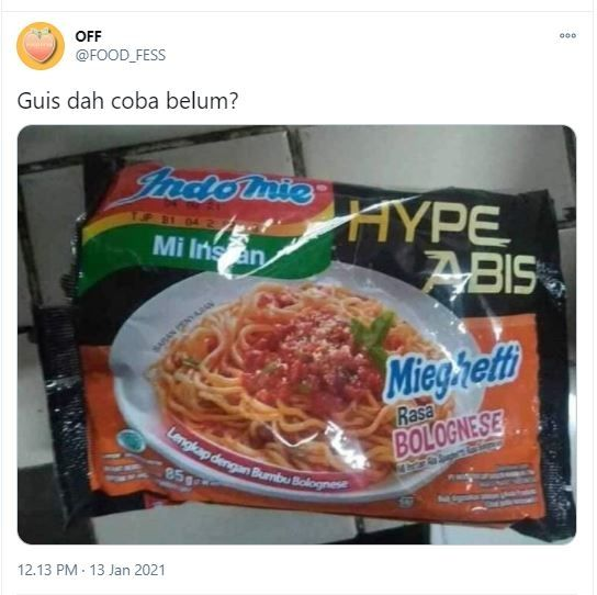 Indomie Hype Abis Mieghetti rasa Bolognese (Twitter @FFOODFESS)