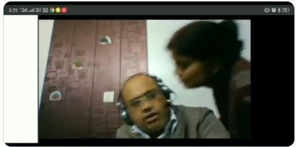 Viral Wanita Ini Hendak Cium Suami saat Rapat Zoom (twitter.com/Praveen31858017)