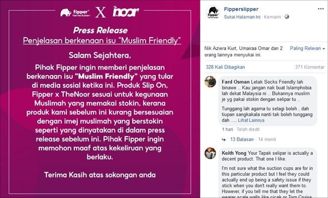 Klarifikasi brand soal sandal muslim friendly. (Facebook/Fipper Slipper)