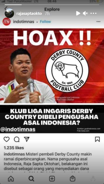 Raja Sapta Oktohari membantah jadi sosok di balik pembelian Derby County. (Instagram/rajasaptaokto)