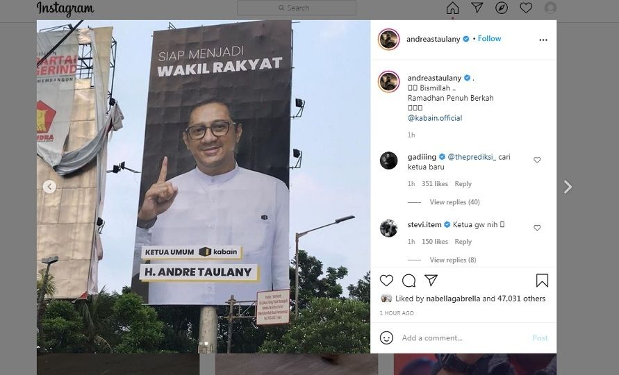 Unggahan Andre Taulany [Instagram]
