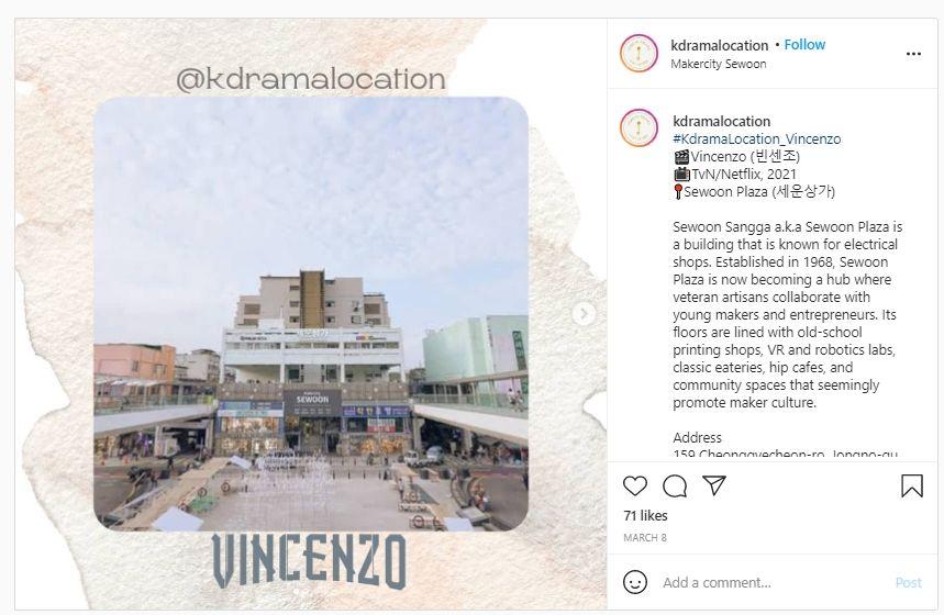 Jadi Lokasi Syuting Drakor Vincenzo, Intip Geumga Plaza yang Sesungguhnya di Dunia Nyata. (Instagram/@kdramalocation)