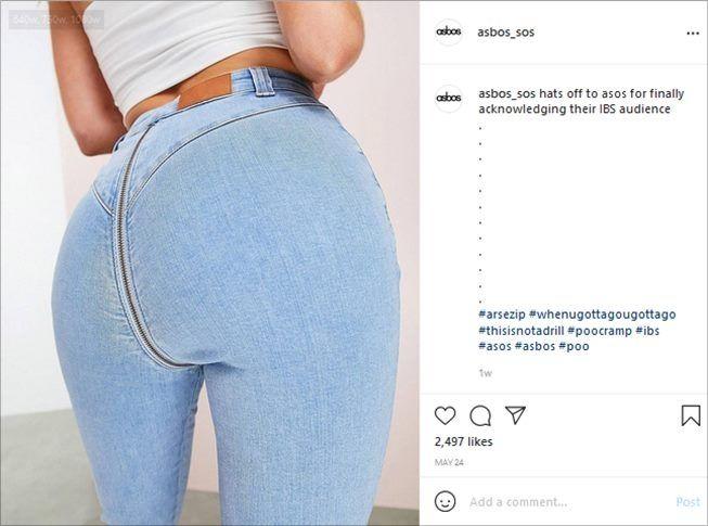 Resletingnya Nyeleneh, Celana Jeans Ini Disebut Cocok buat Orang Diare. (Instagram/@asbos_asos)