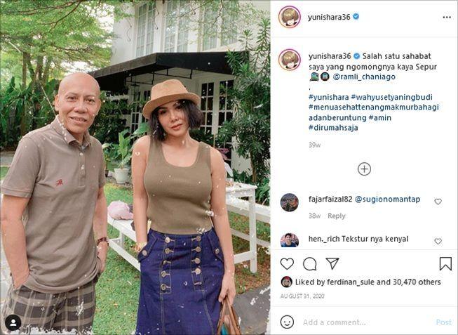 Gaya busana Yuni Shara. (Instagram/@yunishara36)