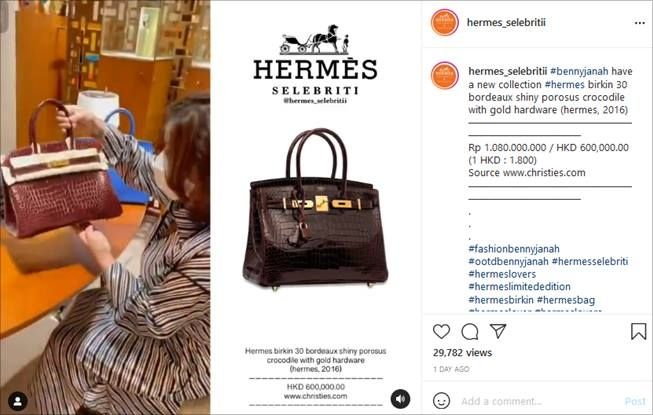 Asisten pribadi Hotman Paris, Nurbaeny Janah, beli tas mewah Rp1 miliar. (Instagram/@hermes_selebritii)