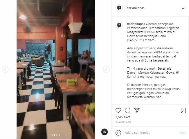Viral Oknum Satpol PP Pukul Ibu Hamil Pemilik Warkop di Gowa. (Instagram/@hariankopas)