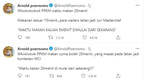 Arnold Purnomo's Funny Comment About Eating in Place for 20 Minutes (Twitter)