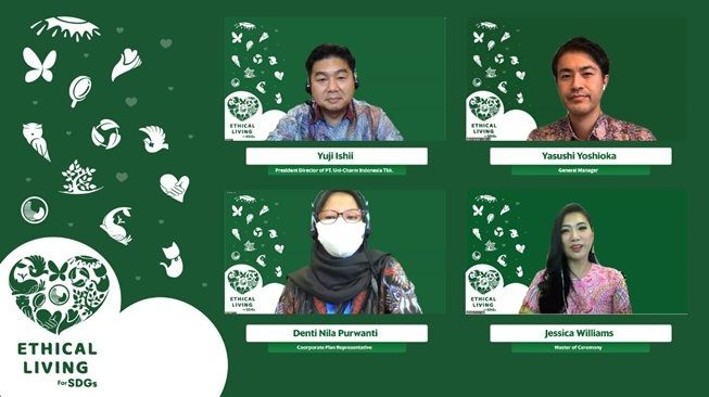 Virtual conference PT Uni-Charm Indonesia mengenalkan new lifestyle Ethical Living for SDGs. (Post Release PT Uni-Charm Indonesia)