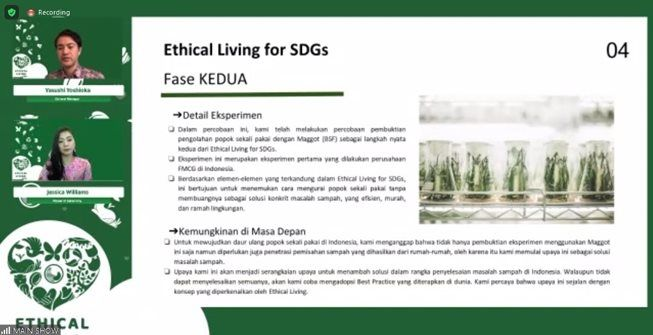 Virtual conference PT Uni-Charm Indonesia mengenalkan new lifestyle Ethical Living for SDGs. (Tangkap layar virtual conference)