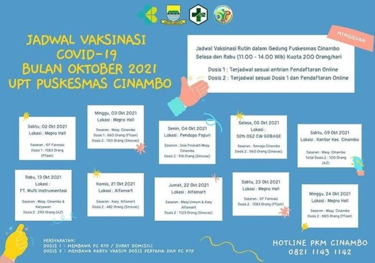 Info vaksin Bandung selama bulan Oktober 2021.